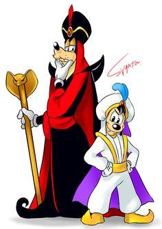 Goofy as Jafar and Max as Prince Ali/Aladdin.