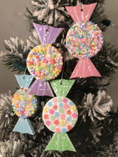 Excited to share this item from my shop: NEW LISTING: Set of 4 candy ornaments. Candy Land Christmas, Cool Christmas Trees, Christmas Fairy, Pink Christmas, Diy Christmas Ornaments, Christmas Time, Xmas Tree, Candy Theme Birthday Party, Candy Land Theme