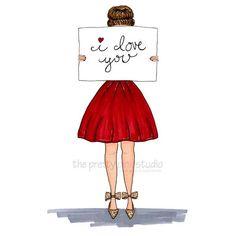 I love you fashion print Little red dress fashion illustration Valentines Day art print Wall art for girls room Girl artVanity wall art by theprettypinkstudio on Etsy Fashion Illustration Dresses, Fashion Sketches, Fashion Illustrations, Foto Fashion, Fashion Art, Dress Fashion, Trendy Fashion, Fashion Quotes, Fashion Kids