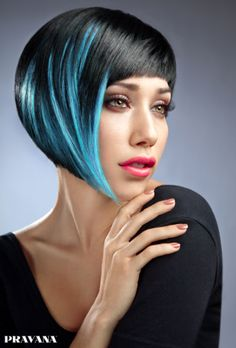 Beautiful Blue Highlights in a Bob for Fall by Sherri Jessee for Pravana.