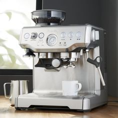 Breville ® Barista Espresso Machine - Crate and Barrel Home Espresso Machine, Espresso Machine Reviews, Breville Espresso Machine, Commercial Espresso Machine, Cappuccino Maker, Cappuccino Coffee, Coffee And Espresso Maker, Decaf Coffee, Endocannabinoid System