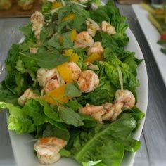 Thai Shrimp Salad, Little Gem Lettuce, Green Papaya, Cilantro, Green Onion, Thai Basil, Orange Segments and Peanuts with Thai Vinaigrette at Tender Greens West Hollywood