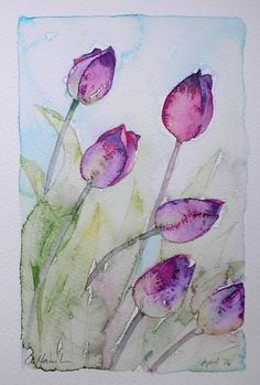 PURPLE TULIPS (SALE PRICE - WAS £80)  An Original Watercolour Painting by Amanda Hawkins  Size of painted area: 14 x 22cm approx Not framed or mounted  About The Artist  Amanda Hawkins has been painting in watercolours for most of her life, and graduated in Art, Design and Illustration at Southampton Institute. Amanda has worked on numerous commissions both private and commercial, designing greeting cards and illustrating wildlife books. She has held many successful exhibitions of her work…