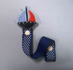 Nautical Sailor Felt Pacifier Clip