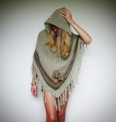 Pixie hood crochet poncho. Boho hippie clothes. by LittleDoLah on Etsy…