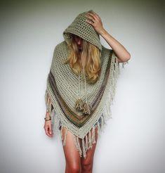 Pixie hood crochet poncho. Boho hippie clothes.  by LittleDoLah on Etsy https://www.etsy.com/listing/217135017/pixie-hood-crochet-poncho-boho-hippie