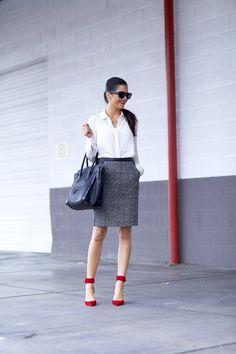 Work wear with pop of red via Pink Peonies