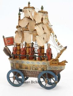 carved wooden Erzgebirge ship made in the Ezgebirge region of Germany, ca 1840s...