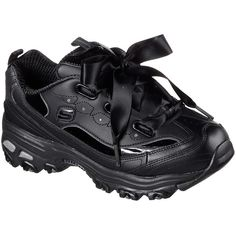 Skechers Women's D'lites - Latest Trend Black - Skechers (€54) ❤ liked on Polyvore featuring shoes, black, stitch shoes, laced up shoes, skechers footwear, patent leather lace up shoes and skechers