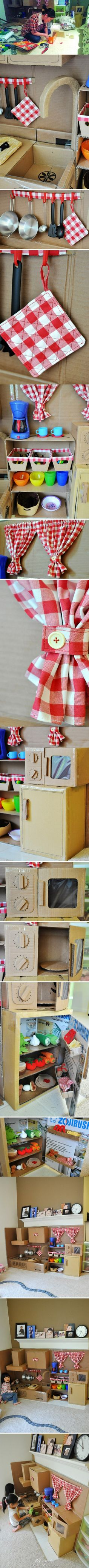 cardboard kitchen Love the microwave! Diy Projects For Men, Diy Gifts For Kids, Diy House Projects, Crafts For Teens, Diy For Kids, Kid Crafts, Cardboard Kitchen, Cardboard Play, Cardboard Crafts