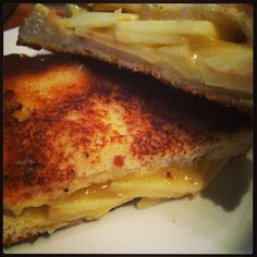 Pink Lady Apple grilled cheese! Serve with sweet potato fries and curry ketchup! Easy meatless meal!