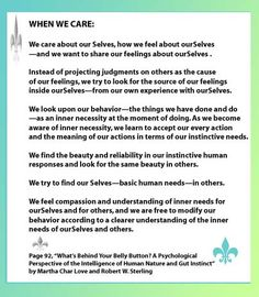 """When We Care"" is very useful as a springboard of discussion on feelings and what it means to truly care for ourselves and how when we do, we also then have the capacity to care for others as well. Click on this and go to the website at http://careerstorefront.angelfire.com/gutfeelingmaterials.html for a PDF printable copy."