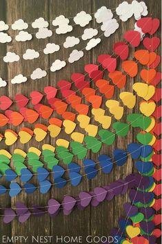 rainbow garland backdrop, unicorn party ideas, rainbow dessert table backdrop, rainbow baby smash cake session, rainbow theme garlands, rainbow party decor, unicorn dessert table, garland swag, cloud and rainbow garlands, rainbow first birthday ideas // E