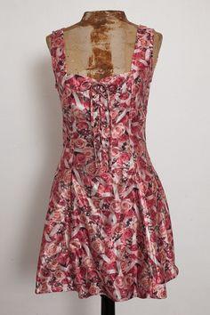 LIP SERVICE pink rose mini dress *90's*