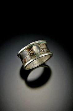 Mokume Gane with Moonstone Ring by BondsJewels on Etsy, $295.00