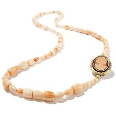 "Amedeo NYC® ""Zelinda"" Cornelian Cameo and Beaded Shell 37-1/2"" Necklace"