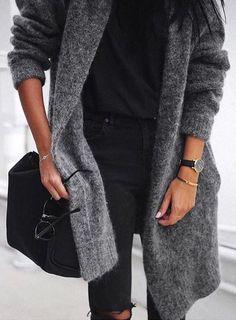 #winter #fashion / Grey Maxi Cardigan + Dark Knit + Black Ripped Skinny Jeans