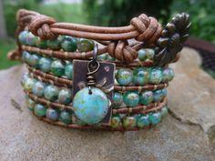 Warm Earthy Picasso Czech Beads with Dove Vintaj by HungOutOnAWire, $40.00