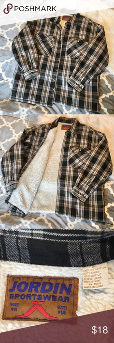"""Men's XL Sherpa style lined Flannel Jacket Men's XL Sherpa style lined Flannel Jacket/Shirt  Rugged wear XL men's jacket/shirt.   Outside is black and shades of grey plaid.  Inside body is Sherpa like acrylic """"fur"""" and sleeve lining is nylon.  Excellent used condition.   From Jordin International, comes from a smoke free, pet free home. Jordin International Jackets & Coats"""
