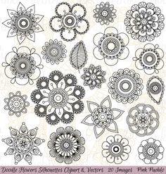 Doodle Flowers Clipart and Vectors by PinkPueblo on Creative Market