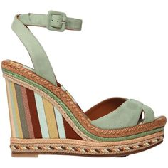 Valentino Women 115mm Navajo Leather Espadrille Wedges ($550) ❤ liked on Polyvore featuring shoes, sandals, light green, valentino shoes, valentino sandals, platform wedge shoes, leather sole shoes and espadrille wedge sandals