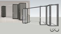 Puerta abatible plegable 2x3 - Parcialmente abierta - Almacén 3D