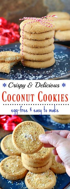 Brighten your holidays with these d-licious Eggless Coconut cookies that are the perfect grab-and-go kind of cookies. Super easy to make, crispy, and surprisingly addictive! Eggless Cookie Recipes, Eggless Baking, Delicious Cookie Recipes, Best Cookie Recipes, Healthy Dessert Recipes, Easy Desserts, Bar Recipes, Egg Free Cookies, Yummy Cookies
