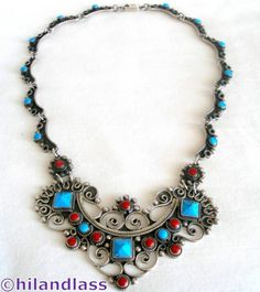 EXQUISITE VTG TAXCO MEXICO MEXICAN STERLING SILVER TURQUOISE CORAL NECKLACE