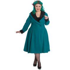 Hell Bunny Vivien Teal Coat - Plus Size