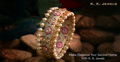 K. K. Jewels presents you a gorgeous bangle crafted especially to grace your beautiful hands. Adorned with Polki diamonds, pearls and exquisite mina work, this piece of jewellery combines majesticity and understated glamour fabulously. What a treasure right? ‪#‎KKJewels‬ ‪#‎Jewellery‬ ‪#‎Ahmedabad‬