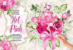 Watercolor HOT PINK design by designloverstudio on @creativemarket