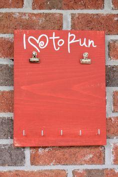 I Love to Run Bib/Medal Holder Combo. $30.00, via Etsy.