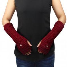 Flower Pearl Fingerless Acrylic Gloves Arm Warmer