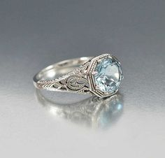 Sterling Silver Engagement Aquamarine Ring Art Deco Style – Boylerpf