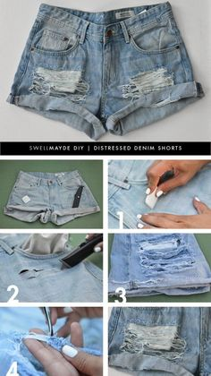 DIY Fashion: How to Refashion Old Shorts – Pretty Designs Distressed Shorts Shorts Diy, Diy Shorts From Jeans, Homemade Jean Shorts, Ripped Shorts Outfit, Mode Shorts, Denim Shirts, Diy Distressed Jeans, Distressed Clothes, Jean Diy