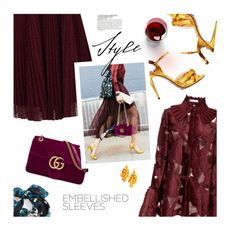 """""""Embellished Sleeves"""" by magdafunk ❤ liked on Polyvore featuring Gucci, Jolie Moi, Kate Spade, Echo, McGinn, StreetStyle, lace, burgundy and embellishedsleeves"""