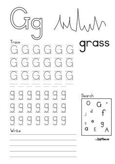 Alphatbet Printable G for Grass FREE! • KraftiMama Preschool Writing, Preschool Learning, Teaching, Grade R Worksheets, Worksheets For Kids, Afrikaans, Grade 1, Grass, Homeschool