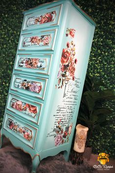 I never tire of using this color.The Gulf, by Dixie Belle Paint Company. Its the perfect dreamy teal 😃 This French Provincial lingerie chest also has the Lovely Ledger, as well as the Rose and Rouge Decor transfers from re Aqua Painted Furniture, Painted Chairs, Paint Furniture, Refinished Furniture, Painted Tables, Chest Furniture, Funky Furniture, Furniture Makeover, Furniture Ideas