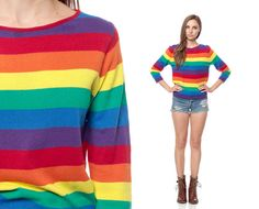 RAINBOW Stripe Shirt Sweater 70s Knit Slouchy Horizontal Striped Boatneck Pullover