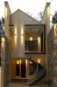 The exterior is the face of the house that everyone will see in the first part. Take a look at the world's most beautiful modern homes and find Modern Villa Design, Unique House Design, House Front Design, Minimalist House Design, Modern Architecture House, Architecture Design, Narrow House Designs, House Plans Mansion, Model House Plan