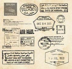 Stamp and post mark brushes for Photoshop Vintage Stamps, Vintage Labels, Vintage Ephemera, Gfx Design, Tool Design, Passport Stamps, Paper Trail, Photoshop Brushes, Old Paper