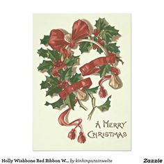 Shop Holly Wishbone Red Ribbon Winterberry Holiday Card created by kinhinputainwelte. Vintage Invitations, Invitation Paper, Merry Christmas Happy Holidays, Vintage Christmas, Holiday Cards, Christmas Cards, Christmas Postcards, Christmas Print, Vintage Greeting Cards