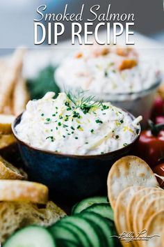 Smoked Salmon Dip Recipe - this homemade smoked salmon dip is absolutely delicious. A side of smoked salmon that is turned into a fantastic dip with jarlsberg swiss cheese and cream cheese and served with assorted dippers. Easy Appetizer Recipes, Yummy Appetizers, Dip Recipes, Salmon Recipes, Snack Recipes, Snacks, Easy Recipes, Smoked Salmon Appetizer, Smoked Salmon Dip
