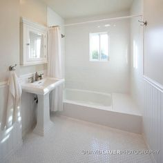 Beadboard on walls, tile in shower, hex floor tiles (similar layout to our bathroom)