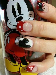 disney themed nail art ideas nail designs and colors ног Minnie Mouse Nails, Mickey Mouse Nails, Cute Nail Designs, Acrylic Nail Designs, Acrylic Nails, Cute Nails, My Nails, Pretty Nails, Disneyland Nails