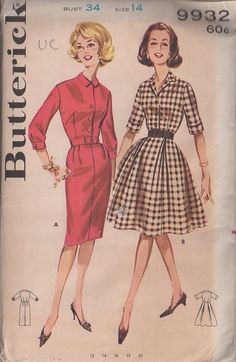 MOMSPatterns Vintage Sewing Patterns - Butterick 9932 Vintage 60's Sewing Pattern CHIC Classic Rockabilly Housewife Daytime Shirtwaist Dress...