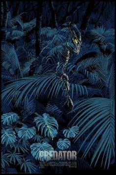 'Predator' by Chris Thornley for Grey Matter Art at NYCC 2018 Alien Vs Predator, Wolf Predator, Predator Movie, Predator Alien, Apex Predator, Horror Movie Posters, Movie Poster Art, Alternative Movie Posters, Arte Horror