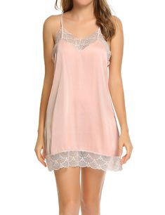 5f09ee4768 Sexy Lace Chemise Nightgown Strappy Satin Sleepwear For Women - Pink -  CR184QACGOX