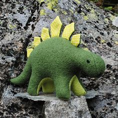 Dinosaur plush toy green wool by BilberryWood on Etsy, $54.00