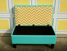 Love the surprising chevron inside this rescued & reupholstered storage bench! Check out the Heidi's DIY on My Beautiful Mess. http://www.mybeautifulmessblog.com/2012/04/14/the-redemption-of-a-bench/#